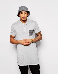 """Polo shirt by ASOS Soft-touch jersey Burnout design Contrast back Polo collar Three button placket Side zips Longline cut Cut longer than standard length Machine wash 58% Polyester, 42% Cotton Our model wears a size Medium and is 178cm/5'10"""" tall"""