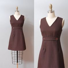 1970s Dress  Espresso Brown 70s Mini Dress by OldFaithfulVintage, $35.00