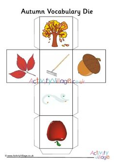 One of the autumn vocabulary dice - part of a collection of autumn vocabulary resources Autumn Activities For Kids, Vocabulary Games, Autumn Crafts, Dice, Fun, Collection, Cubes, Hilarious
