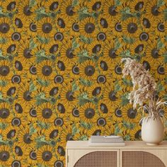 Sunflower Pattern Removable Wallpaper, Pretty Flower Wall Cling, Botanical Peel and Stick, Modern Home Decor, Decorative Wall Mural Decal - Canvas Wall Decal / 1 roll: 24W x 72H