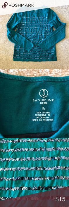 Lands' End Kids Long Sleeve Sequin Shirt Preowned Lands' End Kids Long Sleeve Sequin Shirt Size Large (14)  Color: Green Lands' End Shirts & Tops Tees - Long Sleeve