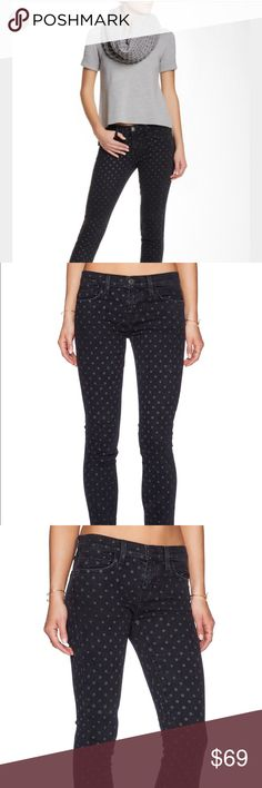 """Current/Elliott The Stiletto Skinny Jean - Zip fly with button closure - 5 pocket construction - Fading and whiskering - Allover polka dot print - Skinny leg - Approx. 9"""" rise, 28"""" inseam - Made in USA Fiber Content 98% cotton, 2% elastane Care Machine wash cold Additional Info Fit: this style fits true to size.  Model's stats for sizing: - Height: 5'11"""" - Bust: 34"""" - Waist: 24"""" - Hips: 35"""" Model is wearing size 26. Current/Elliott Jeans Ankle & Cropped"""
