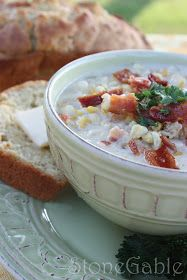 StoneGable: StoneGable Roasted Corn and Bacon Chowder and Beer Bread