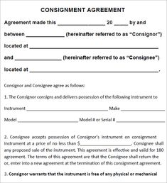 Consignment Agreement Template - free consignment agreement template consignment contract template By : jadi.us You are able to then share each contract agreement with each i. Best Resume, Free Resume, Sales Report Template, Curriculum Vitae Template, Contract Agreement, Free Checking, Small Business Accounting, Templates Printable Free, Word Templates
