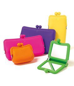 Monederos y espejo de silicón en varios colores