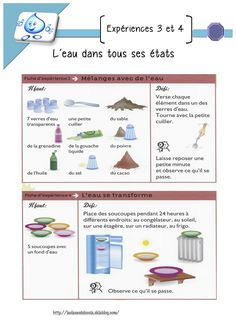 L'eau dans tous ces états - séquence complète GS Primary Science, Teaching Science, Science For Kids, Science Experience, French Resources, Teaching French, Knowledge Is Power, Petite Section, Grande Section
