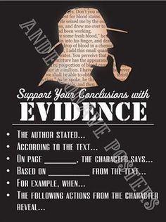 "Teach students how to show textual evidence through this poster. I teach a unit called ""The Sherlock Holmes Method of Writing"" which focuses on inference skills and using text to prove deductions. My students really appreciate the sentence starters to answer questions about our reading!"
