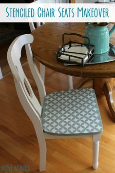 Give old chairs new life by stenciling the seats! It's an easy project that packs a lot of punch and will help make a statement in your home.
