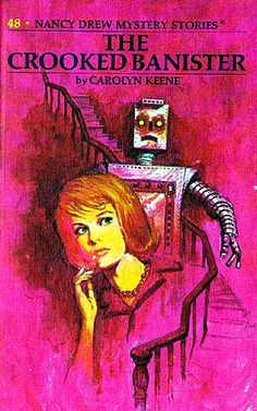ND#48. 1971 cover art. Nancy, Bess, and George spend an exciting week exploring a mysterious zigzag house with a crooked staircase and an unpredictable robot. Nancy is determined to solve the mystery of the weird house and locate the missing owner who is wanted by the police.