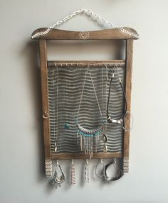 Jewelery holder I made from old washboard. Primitive jewelery rustic wood hanger