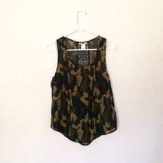 Camo print tank with Open back lace. 100% POLYESTER dizzire Tops Tank Tops