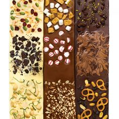 Who can resist velvety bittersweet, milk, or white chocolate topped with nuts, candy, or dried fruit? Try one of our bark variations below or experiment with your own favorite flavors.Movie Theater BarkCherry and Orange Peel BarkS'mores BarkPeppermint BarkLime and Macadamia Nut BarkPistachio, Dried Cranberry, and Toasted-Coconut Bark