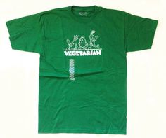 NEW Retro VEGETARIAN Green Large T-shirt | Cute Vegetables Garlic Potato Carrot #YQue #ShortSleeve