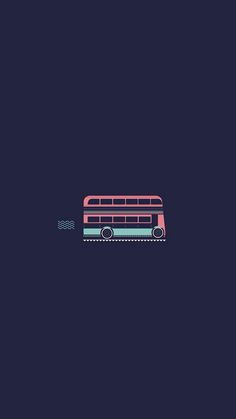 Double decker bus.Tap image for more Minimal Wallpapers of Moscow, Paris and London by Verónica - @mobile9 | Wallpapers for iPhone 5/5S, iPhone 6 & 6 Plus #cartoon #minimal #travel