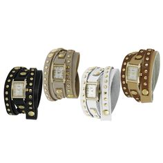 Update your accessories with this stylishly intriguing wrap-around watch. The watch's unique studded design, and sleek mother of pearl dial adds an edgy, high-fashion look to any outfit. The wrap-around watch snaps into place for your convenience.