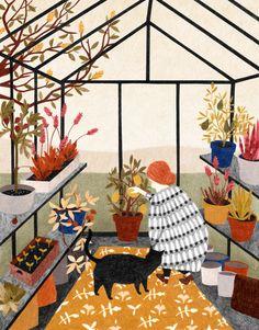 Art print by Dutch illustrator Lieke van der Vorst. Art And Illustration, Illustration Inspiration, Illustrations Posters, Blog Deco, Art Design, Graphic Design, Cat Art, Oeuvre D'art, Art Inspo