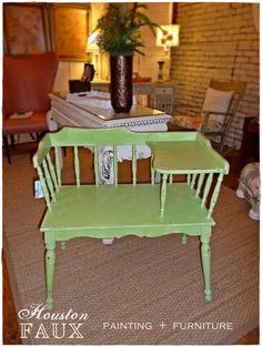 Mid-Century Apple - Lime Green Gossip Bench / Telephone Chair / Table