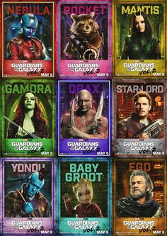 Guardians of the galaxy vol.2 character posters