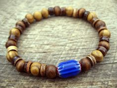 Mens surfer bracelet glass chevron bead wood by thehappymushroom, £5.20