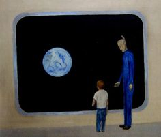 """""""David Huggins, Watching the Earth. Scan from Love In An Alien Purgatory- the art of David Huggins by Farah Yurdozu published by Anomalist Books"""""""