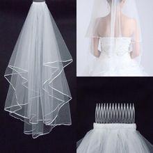 43a6d11080 Moda Simple barato velo de novia blanco edge una capa de accesorios de boda  velo nupcial
