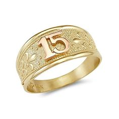 14k Yellow Rose Gold Sweet 15 Birthday Quinceanera Ring. -- 44% DISCOUNT & FREE SHIPPING for a limited time!