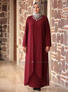 Parıltı Abiye Elbise - Bordo - Amine Hüma