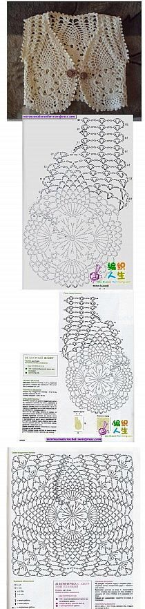cute crochet vest - guess that it is for a child, do not know the size - with chart - poland