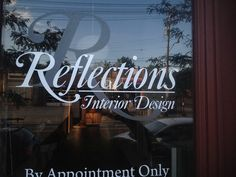 Combination of white and frosted vinyl creates beautiful window signage Gym Decor, Office Decor, Window Signage, Window Graphics, Salon Ideas, Fun Workouts, Reflection, Bakery, Have Fun