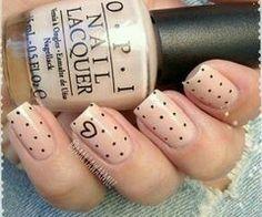 Natural color beige black heart dots nails