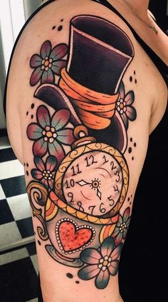 100 Alice in Wonderland Tattoos You'll Need to See - Tattoo Me Now Forearm Cover Up Tattoos, Cover Up Tattoos For Women, Best Cover Up Tattoos, Cover Tattoo, Dope Tattoos, Body Art Tattoos, Sleeve Tattoos, Tatoos, Book Inspired Tattoos
