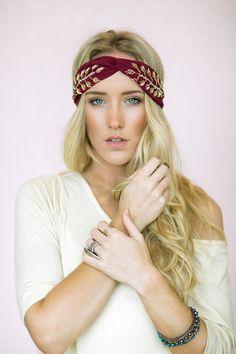 Beaded Turban Headband - MAROON Gold Leaf Twist Headband Seed Bead Jeweled Design Bohemian Fashion Hair Accessories (HB-122)