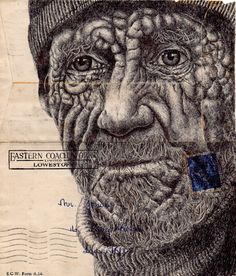 Bic Biro on 1950 envelope Art Print by Mark Powell Bic Biro Drawings Biro Drawing, Pen Drawings, Drawing Eyes, Mark Powell, Envelopes, Realistic Sketch, Gcse Art Sketchbook, Ballpoint Pen Drawing, Collages