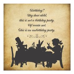 Vintage Alice in Wonderland Tea Party Birthday Invitations by Pip_Gerard.