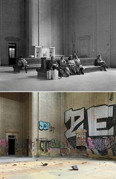 Detroit, 1973/2010 | Retronaut - Waiting Room, Michigan Central RR Depot