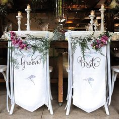 Feather Whimsy Personalized Bride and Groom Chair Banner Set Wedding Chair Decorations, Wedding Chairs, Wedding Seating, Wedding Supplies, Wedding Favors, Wedding Events, Wedding Day, Garden Wedding, Wedding Receptions