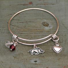 Arkansas Razorback Memory Wire Bracelet by ShopCharmingCollect