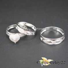 10K White Gold Over His Her Heart Shape Diamond Wedding Bridal Trio Ring Set #giftjewelry22