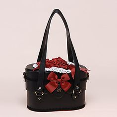 Handmade Wine Red Roses and Bowknots PU Leather Black Gothic Lolita Bag