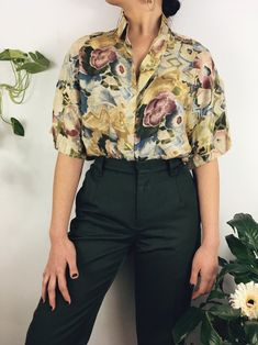 A dreamy silk blouse with short sleeves and mosaic watercolor print. outfit inspo, casual style, vintage blouse, retro tops, everyday fashion, vintage style, retro looks, 80s style, weekend style, fashion trends, retro style, trendy style, 90s fashion, cute clothing, adorable style, vintage style outfit, weekend casual outfits, 1950s inspired outfits