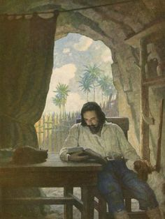 "The evocative illustrations of American artist N.C. Wyeth who brought classic childhood  books alive. ""Robinson Crusoe reading"" 1920  R McN"