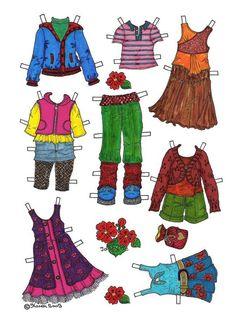 Josefine Paper Doll in Colours. Josefine påklædningsdukke i farver. Matilda, Paper Dolls, Monkey, Paper Crafts, Colours, Bear, Halloween, Lady, Pretty