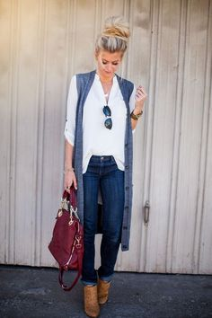 long vest and jeans outfit