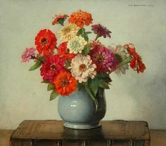 Zinnias in a Glazed Pot - Johannes Jacobus Maria Bogaerts, 1937 - love the light reflection and shadow of pot.