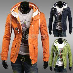 Men's Hoodie Duffle Toggle Coats Jackets Overcoat