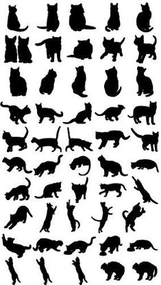 Willian Smith, Simple Wall Paintings, Black Cat Tattoos, Geniale Tattoos, Lappland, Cat Pose, Quilting Templates, Cat Quilt, Cat Silhouette