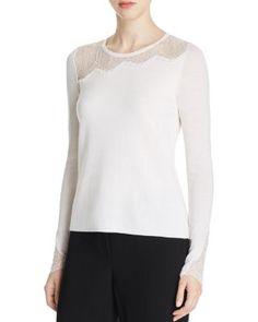 Elie Tahari Kira Lace Panel Merino Wool Sweater | Bloomingdale's