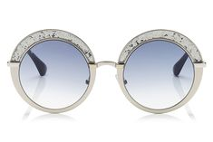9deb2ba2753 Jimmy Choo - Gotha Nude Palladium and Glitter Round Framed Sunglasses   jimmychooglasses