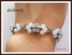 Swarovski White Opal Grey Pearl Ribbon Bracelet (BB144) - PDF Tutorial (Buy 3 get 1 Free) via Etsy