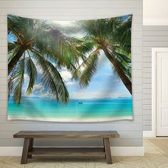 Palm Trees on an Island Framing the Ocean as a Boat by Wall26Store